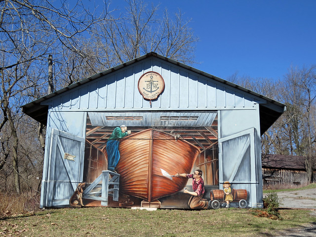 The mural at Andress Boat Works (started up in 1921) in Rockport, Ontario