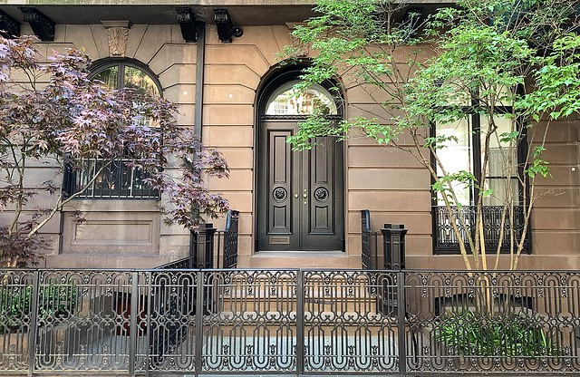 A shared facade: The entrance to 24 West 10th Street, Greenwich Village, New York