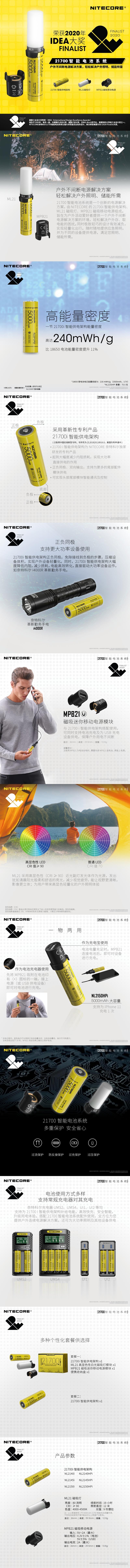 【錸特光電 手電筒專賣店】NITECORE 21700 i智能充電器組 5000mAh 行動電源 CRI 露營燈 磁吸照明 21700 i Series Battery MPB21 Magnetic Power BanK ML21  (1)