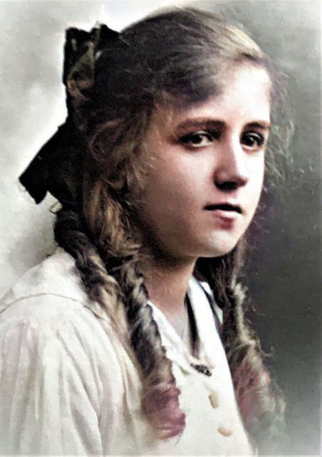 Unknown Girl with Long Curls Preston Lancashire UK ca 1910 2-Colorized