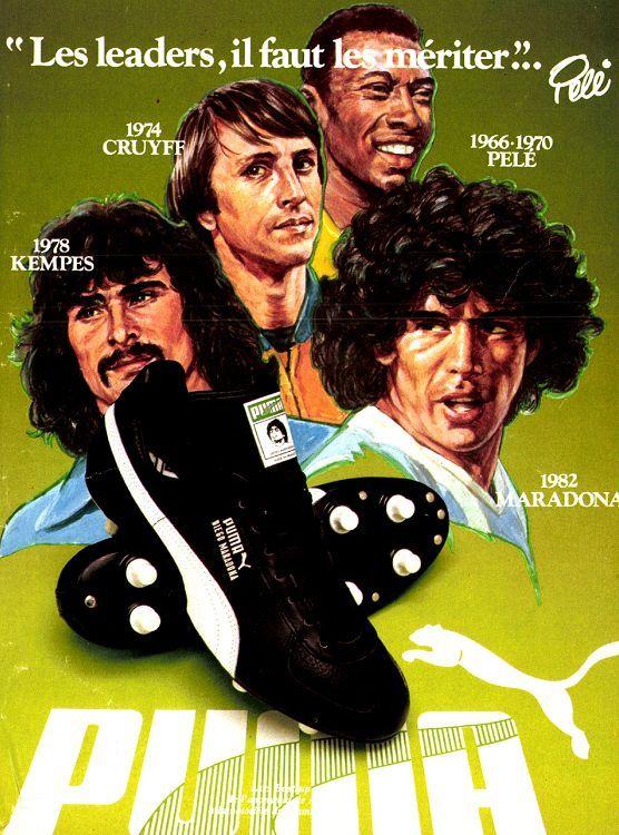 Anuncio de Puma con Kempes, Cruyff, Pelé y Maradona del Mundial de 1982 / Imagen: Pinterest