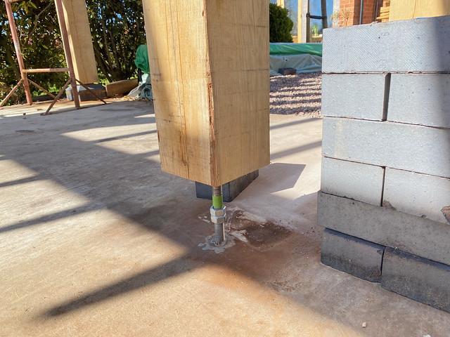 Door post to slab epoxy fixing
