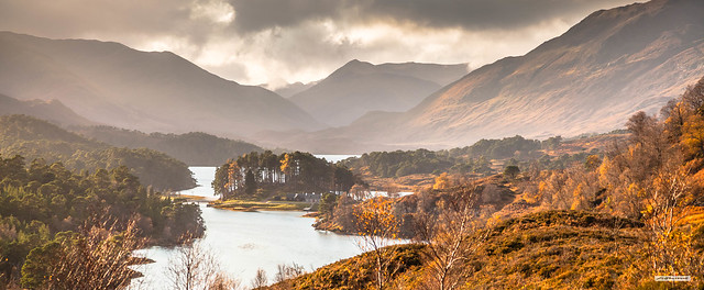 Autumn's golden embellishment of the mercurial Glen Affric as the sun sets towards the south-east, Inverness-shire, Scotland.