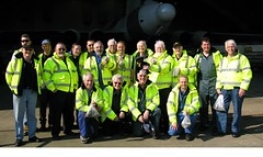 Volunteers with Brunty Bear (XH558 Mascot)
