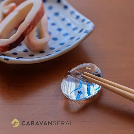 ガラスの箸置き 夏用 魚のモチーフ