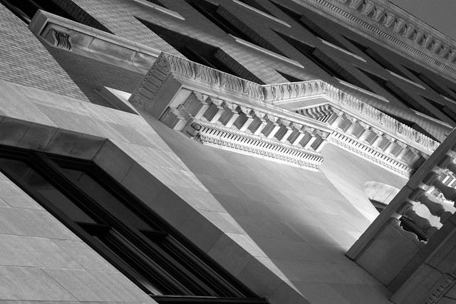 Looking up at the former Union Station, Houston (infrared)