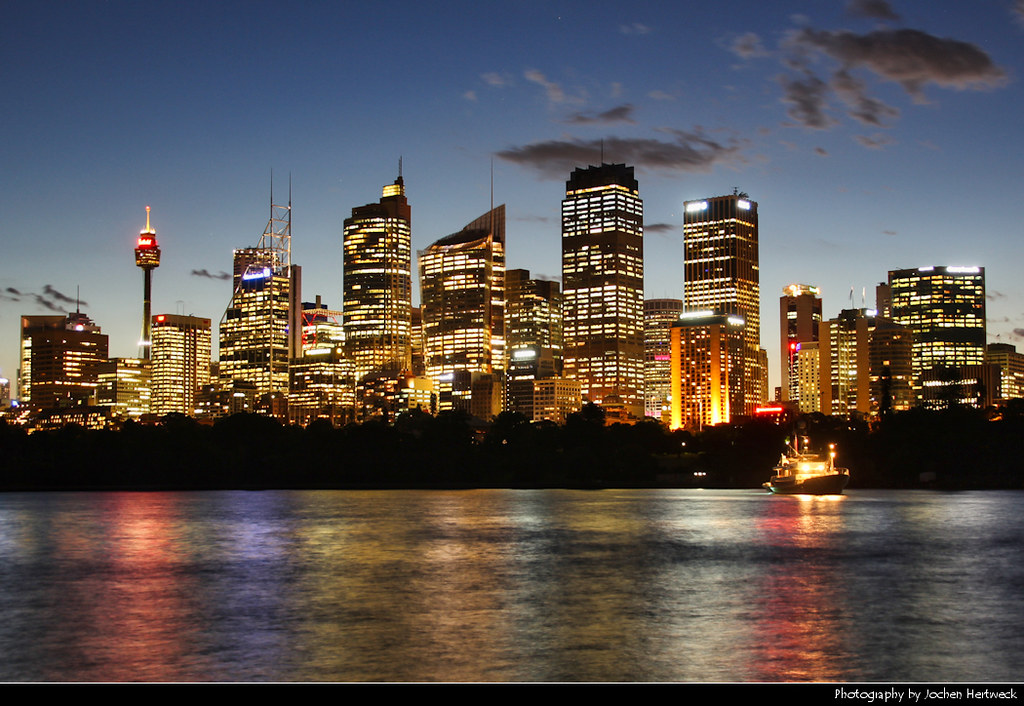 Skyline seen from Mrs Macquaries Point during Blue Hour, Sydney, Australia