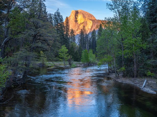 Half Dome Reflections Sentinel Bridge Dusk Yosemite National Park Spring 45EPIC Elliot McGucken Fuji GFX100 Fine Art Landscape Nature Photography! Master Medium Format Fine Art Photographer! Fujifilm GFX 100 & Fujifilm FUJINON Lens!