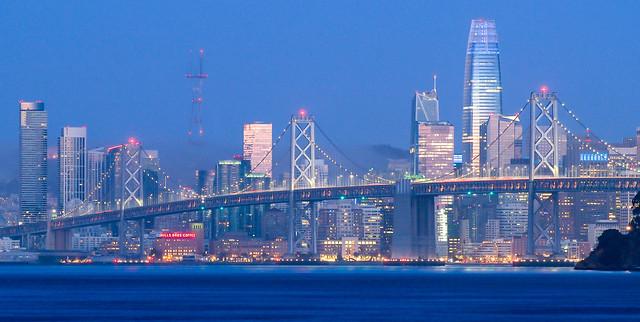 Blue hour dawn SF skyline, south of Market