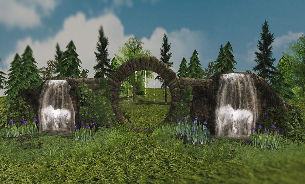 Lady's Garden – Stone portal with a waterfall 46 Prim_001