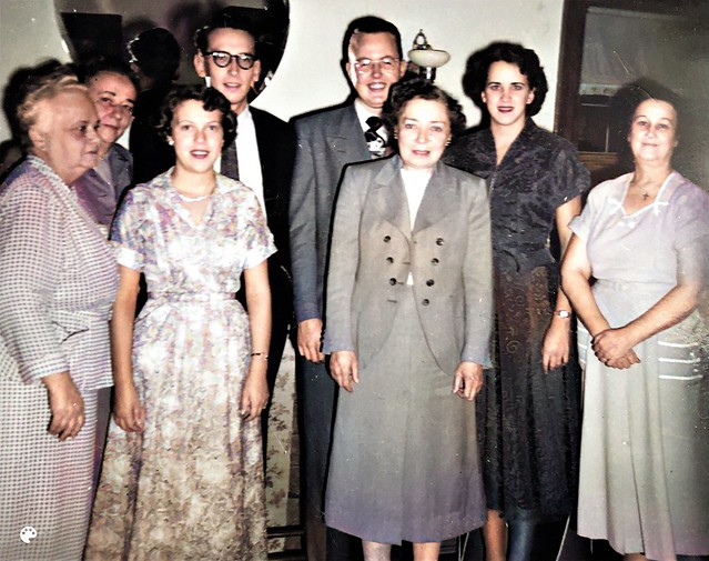 Healy Rawlinson Goulden family portrait, Vancouver BC Canada, ca 1950 Colorized