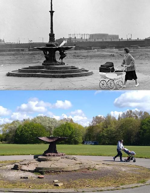 Botanic Park Fountain, Wavertree, 1960s and 2021