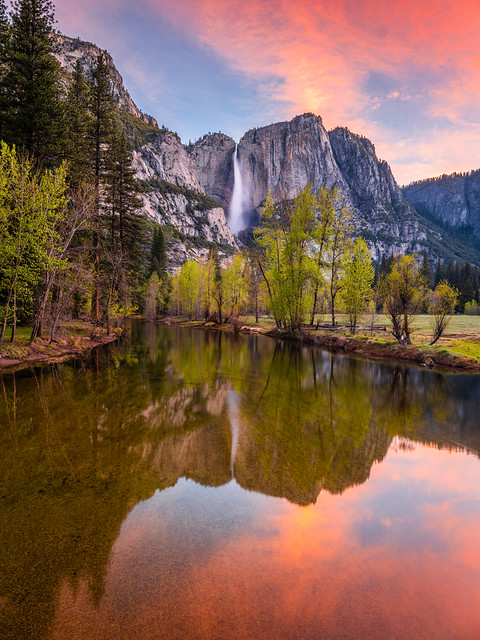 Yosemite Falls Dawn Reflections Swinging Bridge! Yosemite National Park Spring Wildflowers & Waterfalls 45EPIC Elliot McGucken Fuji GFX100 Fine Art Landscape Nature Photography! Master Medium Format Fine Art Photographer! Fujifilm GFX 100 Yosemite NPS