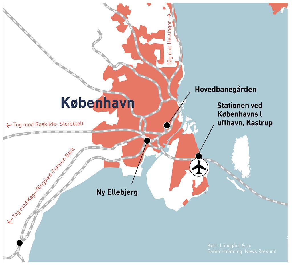 Kartgrafik förslag i den danska infrastrukturplanen (DK) 20210505