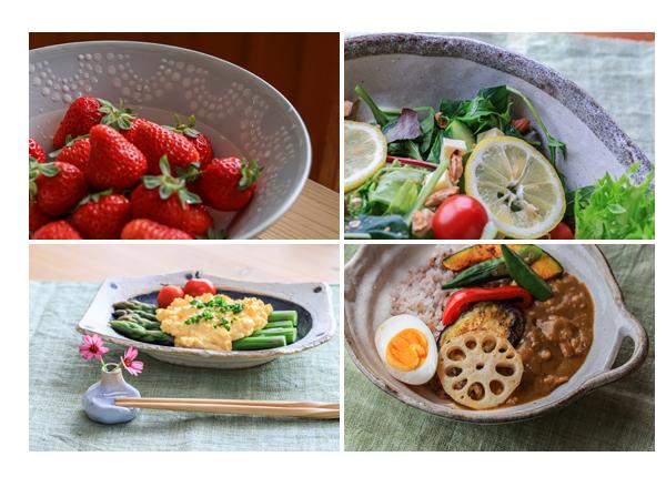 器の力が料理を活かす! カレー、サラダ、アスパラガス、イチゴ
