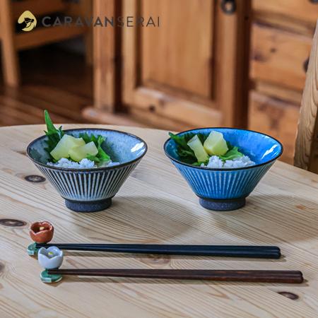 夫婦茶碗と箸 色はブルーとグレー