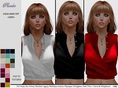 55L$ OFFER! *P* Dana Mesh Top ~20 Linen HUD~
