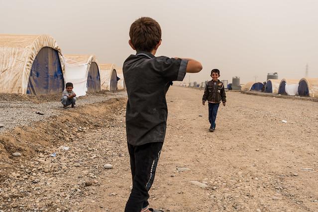 War game in a refugee camp - Iraq
