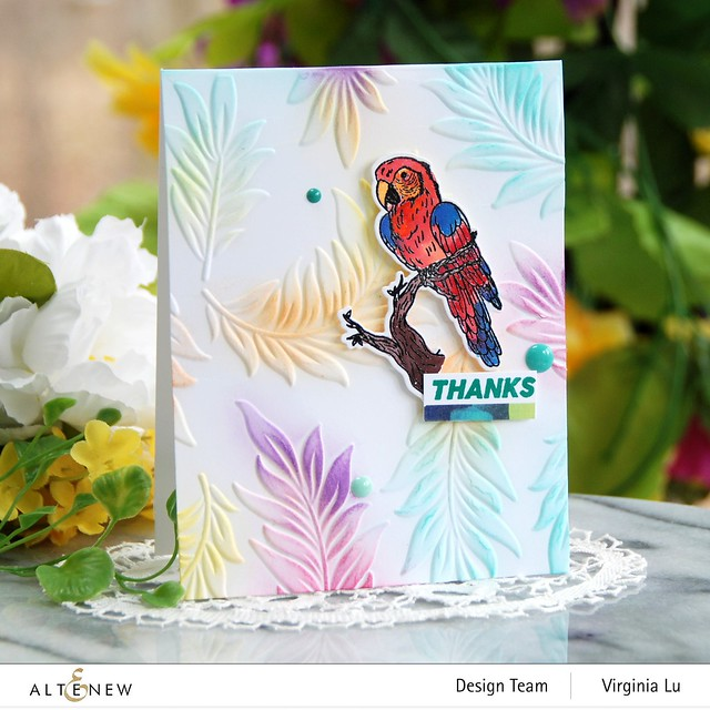 Altenew-Exotic Parrot Stamp & Die Bundle-Floating Foliage 3D Embossing Folder -001