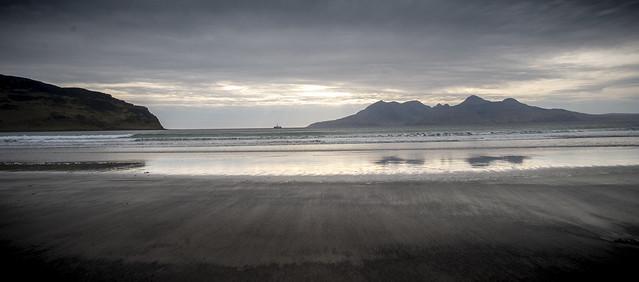 Island of Rhum seen from the Bay of Laig on Eigg