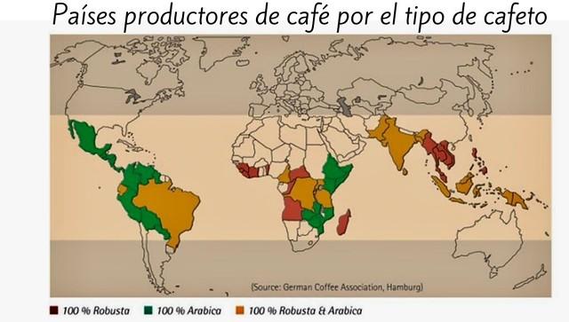 Países productores de café por el tipo de cafeto