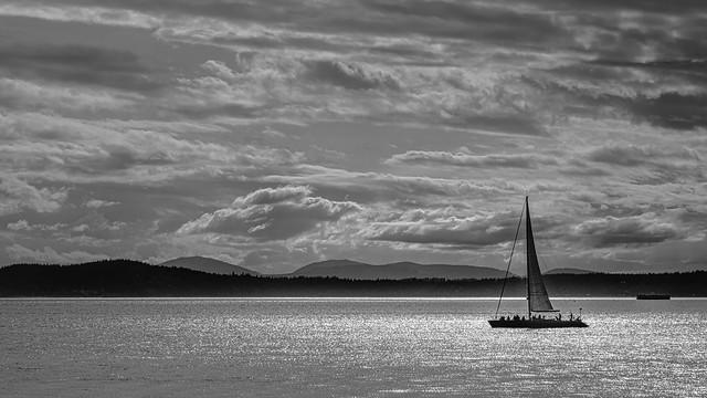 Sailboat on Elliott Bay, Downtown Seattle