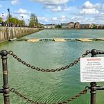 Warning of green water in PrestonDocks