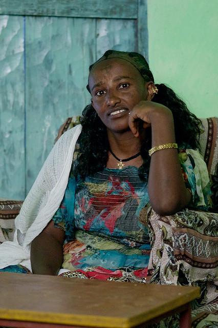 Ethiopian Woman at restaurent - Atsbi, Tigray, Ethiopia - Version 2