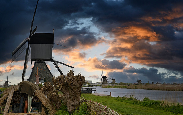 Pays-Bas - Netherlands - Hollande - moulins de Kinderdijk