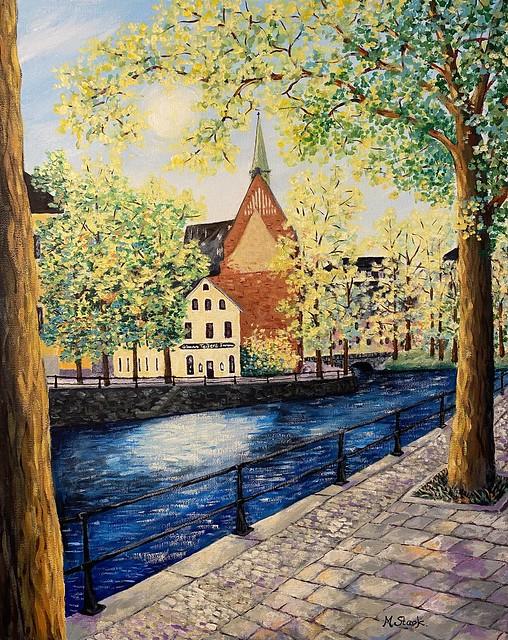 Teijlers Glasmästeri i Örebro. Acrylic on canvas.