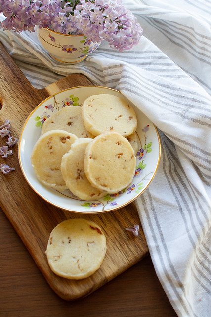 Lilac Shortbread Cookies on a Plate