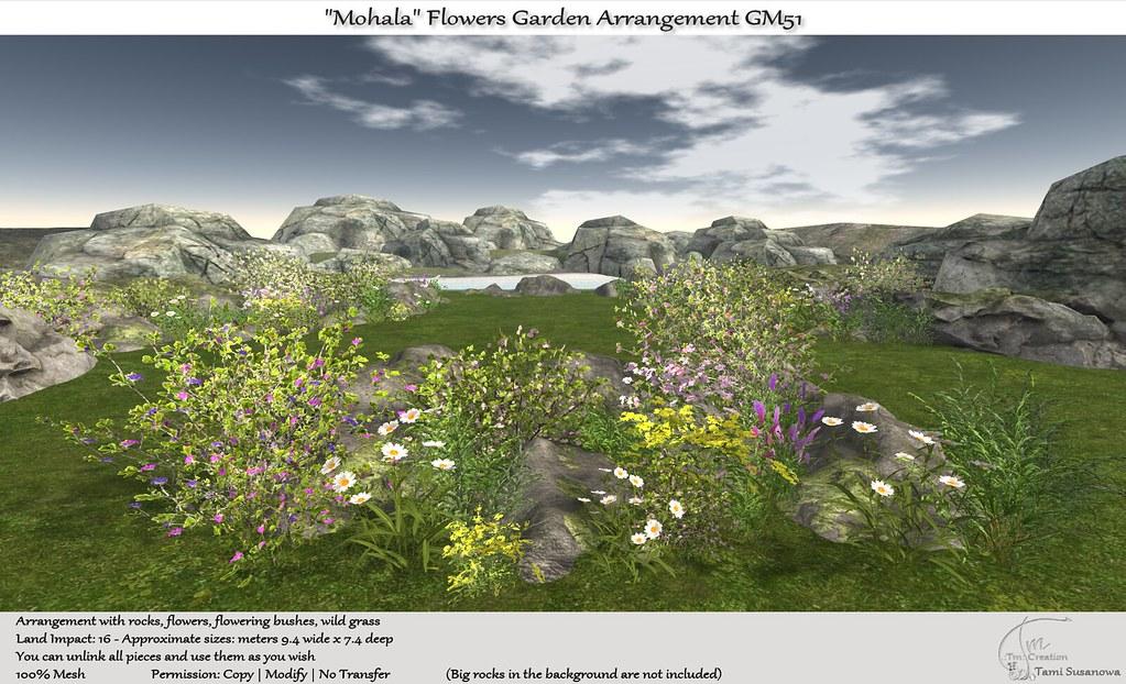 ".:Tm:.Creation ""Mohala"" Flowers Garden Arrangement GM51"