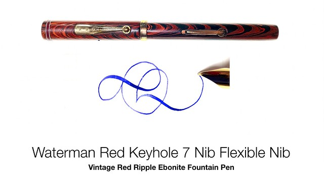 Waterman Red Keyhole 7 Nib Flexible Nib Vintage Red Ripple Ebonite Fountain Pen