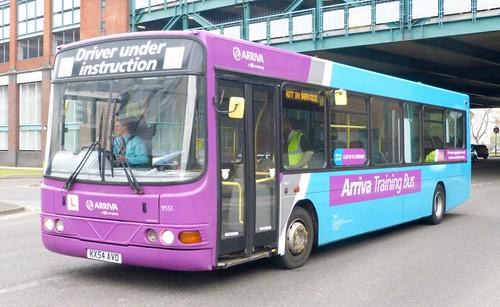 KX54 AVD 'ARRIVA Midlands' No. 9551 'Driver Training Bus'. VDL SB120 / Wright Cadet on 'Dennis Basford's railsroadsrunways.blogspot.co.uk'