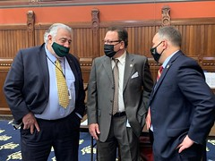 From left- State Representatives Charles Ferraro (R-Milford), Tony D'Amelio (R-Waterbury) and Ron Napoli, Jr. (D-Waterbury) discuss legislation during session on May 6th.