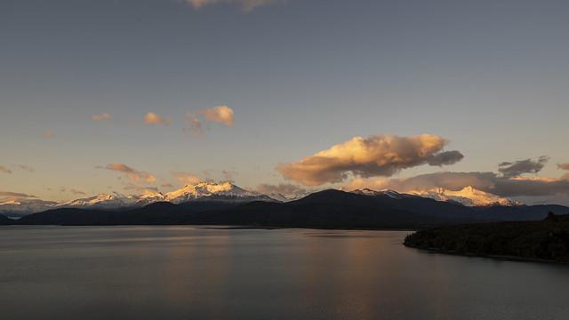 Sunrise on snowy peaks