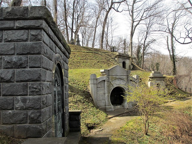 Mausoleums facing Rock Creek, Oak Hill Cemetery, Georgetown, Washington, D.C.