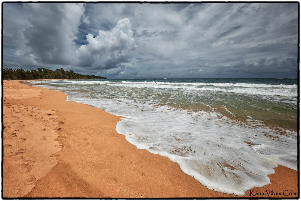 A cloudy afternoon at the beach, Anahola, Kauai.
