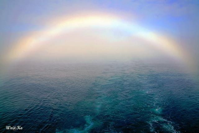 Vanishing rainbow above Artic waters
