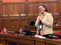 State Rep. Cindy Harrison recognizes her mother-in-law's birthday during a point of personal privilege during session on May 4th.