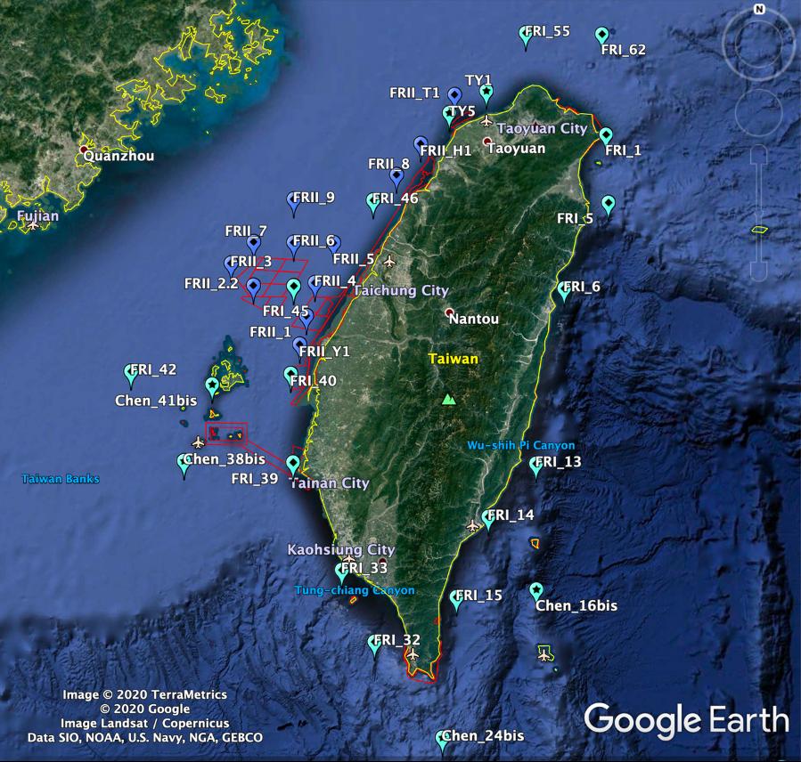 20210430海保署啟動「台灣海域生態大調查」。此為四月份研究船首航涵蓋的調查站點。圖片提供:海保署