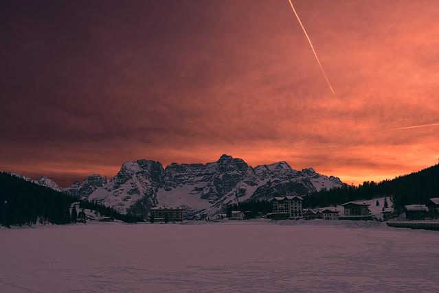 Sunset at the Lake Misurina
