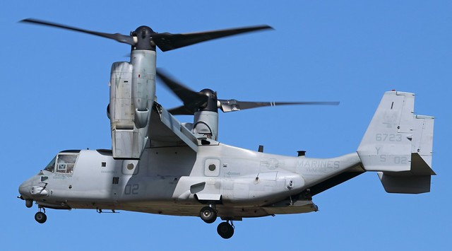 166723 USMC Boeing  MV-22B Osprey arriving at Prestwick from Mildenhall as
