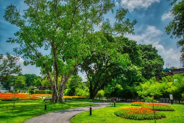 Mahakan Fort park on Rattanakosin island (Old Town) in Bangkok, Thailand