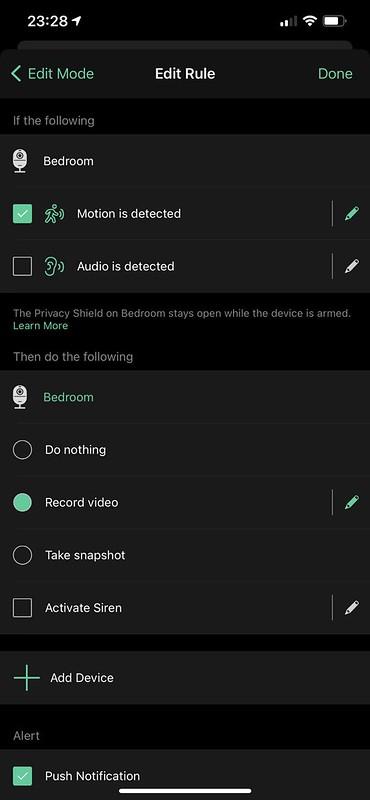Arlo iOS - Mode Rules