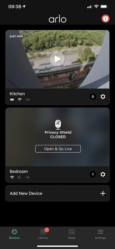 Arlo iOS - Home - Privacy Shield Closed