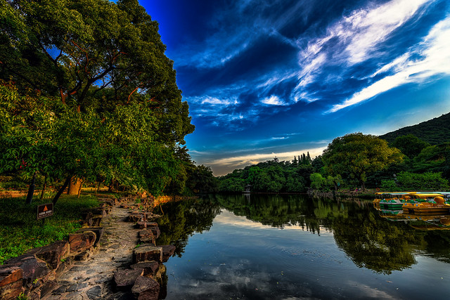 Atardecer junto al Lago Xihui