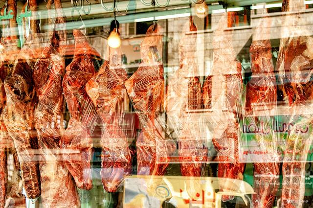 Meat in a shop window