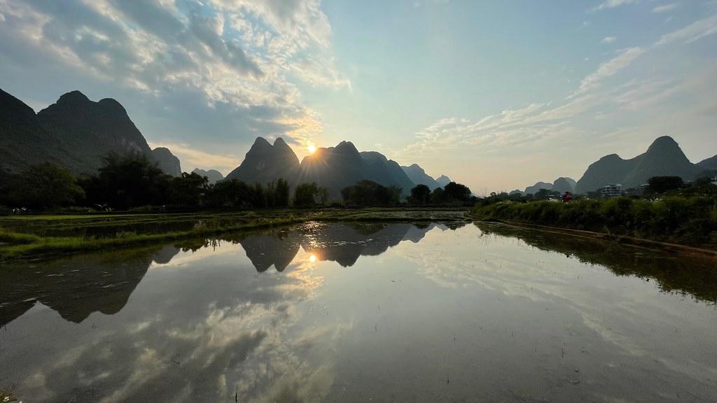 Sunset over YangShuo rice fields