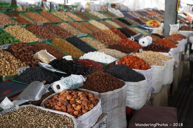 Sacks & trays of dried fruit & nuts - Osh Bazaar - Bishkek Krygyzstan